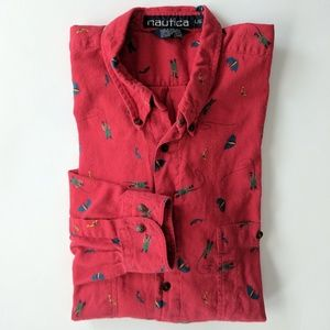 Vintage Nautica Red Flannel Fisherman Buttondown